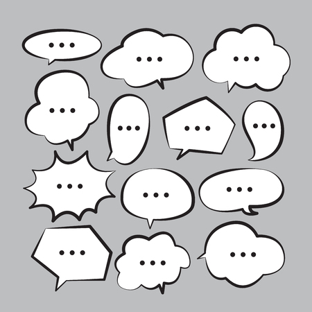 Various stickers of white speech bubbles vector set with triple dots - stock vector