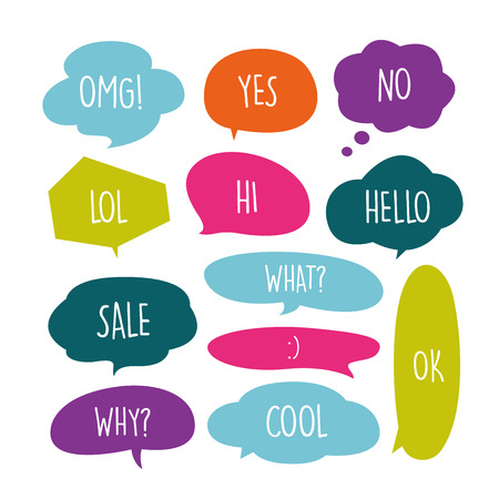 Various Cute speech bubble doodle stickers set with multiple colors - stock vector