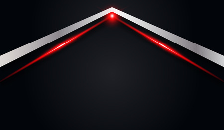 abstract arrow metallic red shiny color black frame layout modern tech design vector template background