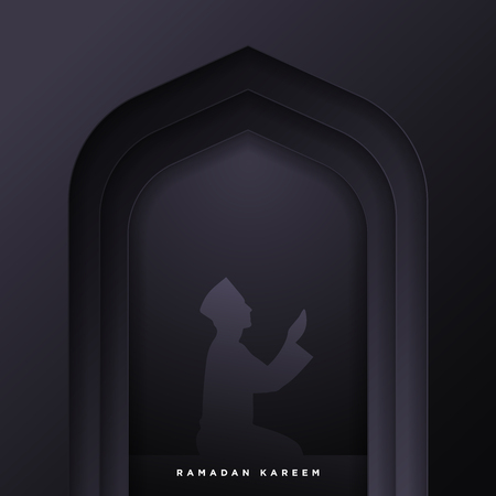 Islamic mosque door for ramadan kareem vector greeting banner background with art paper cut style, man prayer scenery. Creative design card, poster. Traditional Islamic holiday 矢量图像