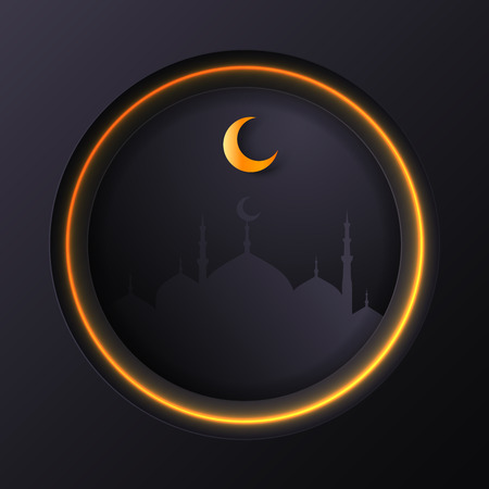 Islamic circle for ramadan kareem vector greeting banner background with art paper cut style, shiny moon and mosque scenery. Creative design card, poster. Traditional Islamic holiday
