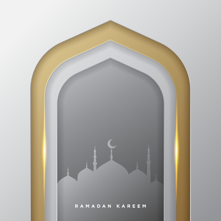 Islamic mosque door for ramadan kareem vector greeting banner background with art paper cut style, golden silver and mosque scenery. Creative design card, poster. Traditional Islamic holiday