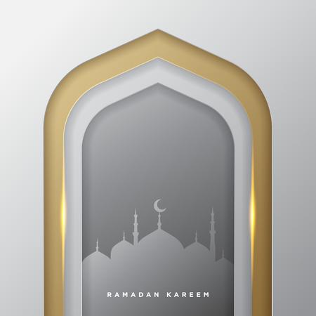 Islamische Moscheentür für Ramadan Kareem Vektorgrußfahnenhintergrund mit Kunstpapierschnittart, goldenem Silber und Moscheelandschaft Kreative Designkarte, Poster. Traditioneller islamischer Feiertag