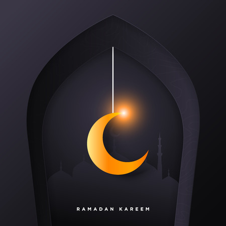 Islamic mosque door for ramadan kareem vector greeting banner background with art paper cut style, shiny moon and mosque scenery. Creative design card, poster. Traditional Islamic holiday