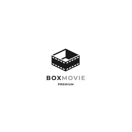 Movie box logo with film strip and open box design concept and minimalist style for movie, film, cinema and digital cinematography business