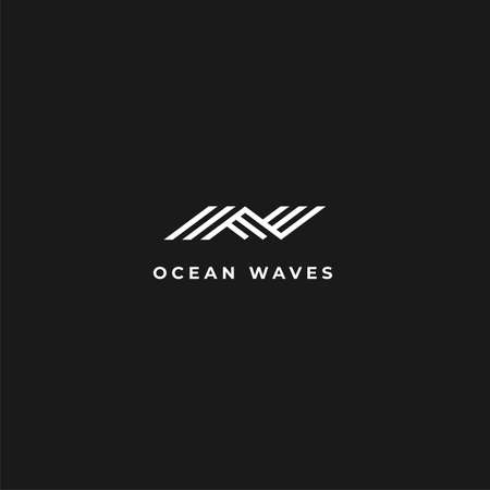 Abstract modern wave logo with negative space on dark background for digital, energy, water, and technology company