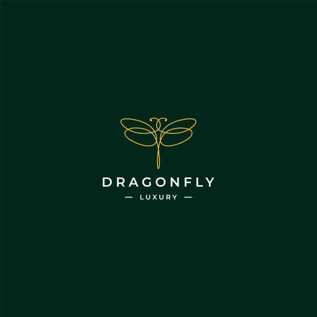 Modern outline dragonfly logo with simple shape and gold color for luxury and modern company. Vector logo concept