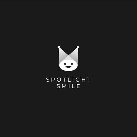 Vector spotlight minimalistic logo template with black white color light rays