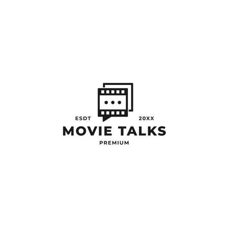 Movie quote talk vector logo design. Film roll strip with speech mark message concept graphic template for digital movie, streaming and tv company 向量圖像