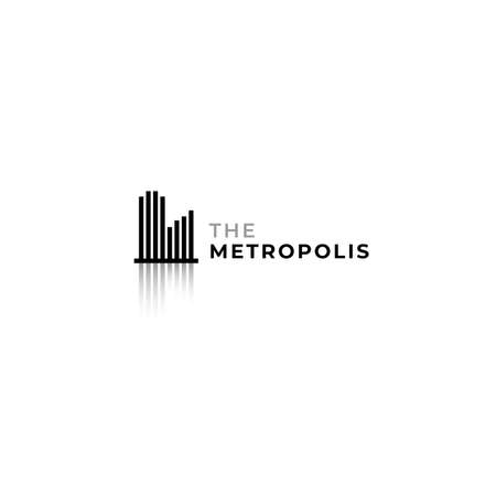Modern minimalist city landscape logo with strip line and shadow design concept. Suitable for digital and smart city company