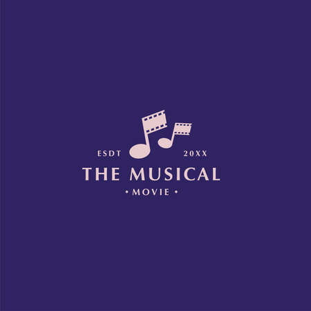 Abstract modern musical movie and film logo with film roll and tone shape on dark background for digital, movie, cinema, and music company 向量圖像