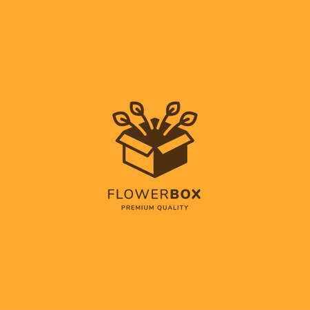 Garden box logo with flower out of the box in minimalist vintage style. suitable for floral and delivery business