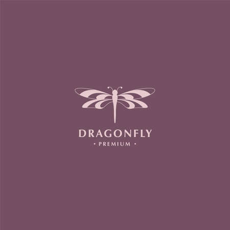 Modern dragonfly logo with symmetrical wings and negative space style design concept for fashion, jewelry and luxury business