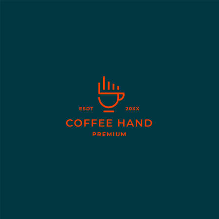 Simple line coffee logo with hand fingers ans coffee cup design concept for cafe, bar, restaurant and co working space business