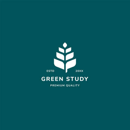 Green study logo concept with leaf and minimalist style. suitable for library, university, study and learning organization company