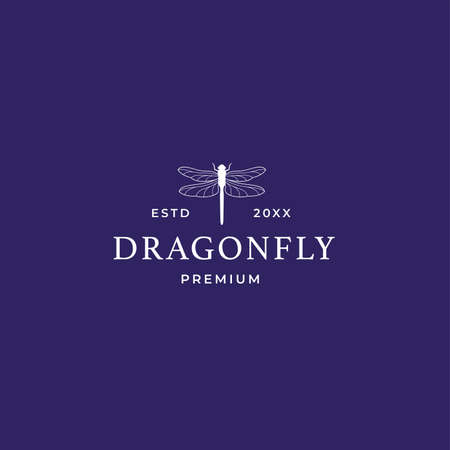 Modern outline dragonfly logo with line style for luxury and modern jewelry company. Vector logo concept