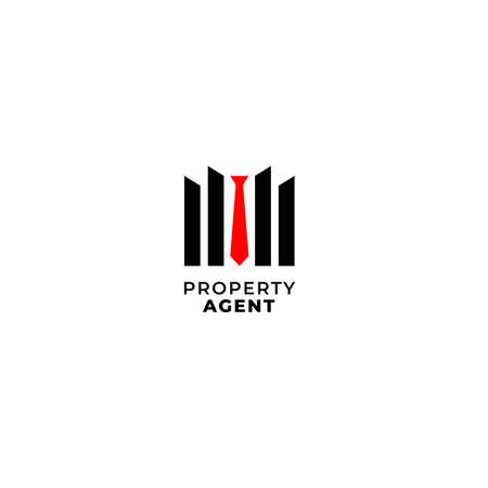 Property and real estate agent salesman with tie and building negative space design concept for house, consultant and apartment company 向量圖像