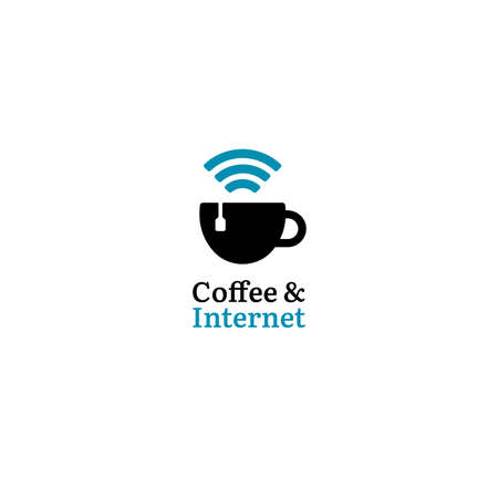 Coffee internet logo with cup and wifi signal. Negative space style for minimalistic business brand. suitable for cafe and coworking space business