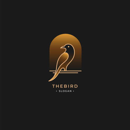 Bird logo outline with vintage gold style isolated on dark background. premium vector idea