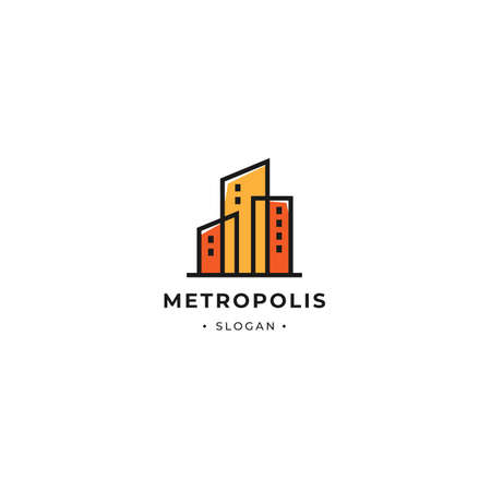 Metropolis building tower logo with minimalist outline style color. Suitable for building, office and architect town business 向量圖像