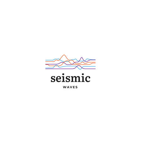 Outline magnitude statistic diagram logo. Line diagnosis signal for natural disaster company Logo