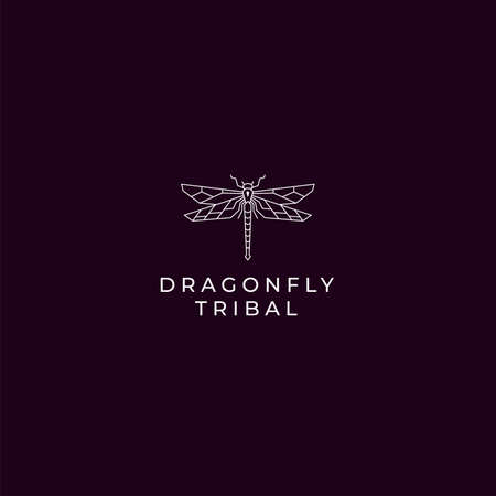 Modern rustic outline dragonfly logo with simple shape and gold color for luxury and modern company. Vector logo concept
