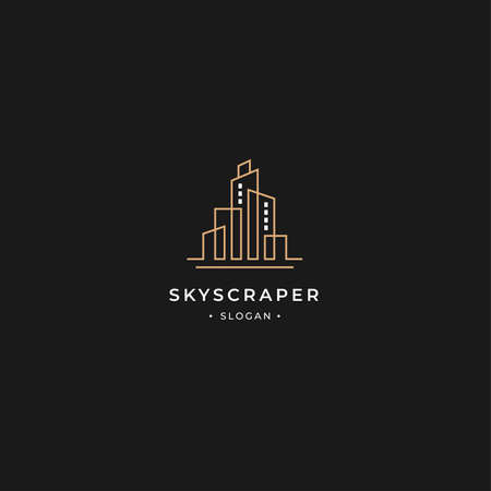 Skyscraper building tower logo in line style with minimalist design concept. suitable for big company, architect and building