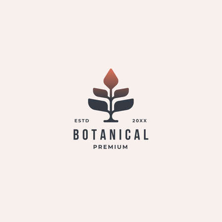 Geometric vintage botanical nature tree logo illustration drawing vector