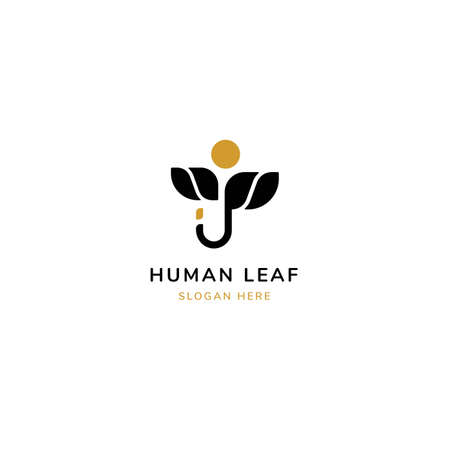 Leaf with people silhouetto line nature Concept Logo Design Template
