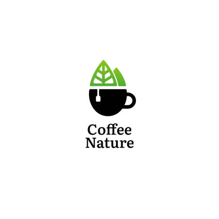 Green nature co Coffee Logo Template Design with leaf and coffee cup