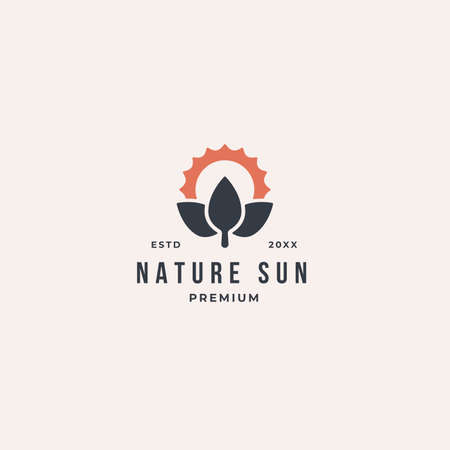 Eco Leaf Sun Logo. Nature tree icon template design vector