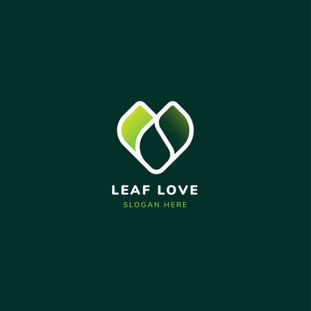 Leaf love heart logo with gradient green color. Suitable for healthcare and humanity