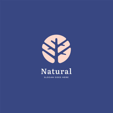 Tree vector logo in negative space. Nature, ecology, natural or organic label trees vector illustration design