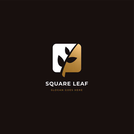 Square leaf nature logo with negative space style. Luxury nature Concept Logo Design Template