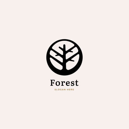 Abstract tree logo in negative space. Nature, ecology, forest or organic label trees vector illustration design 向量圖像