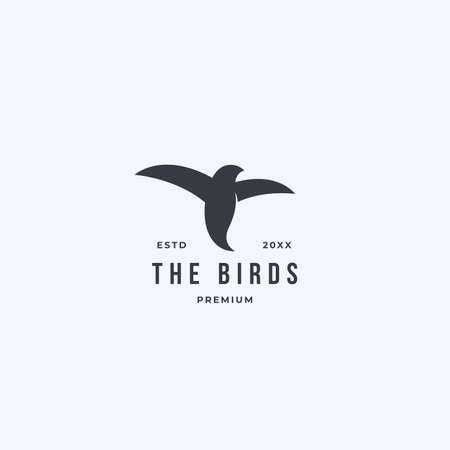 Bird logo hipster vintage retro vector black art icon template. Isolated on white background 向量圖像