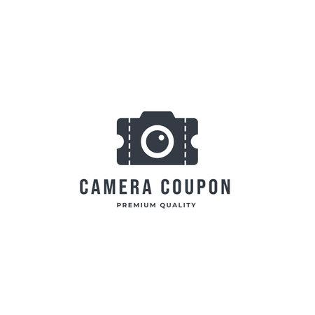Camera ticket logo template. Video cinema and movie ticket vector design. Theater film ticket design inspiration 向量圖像
