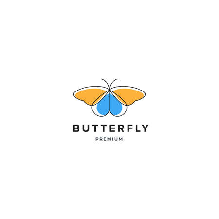 Butterfly outline color logo inspiration, spa beauty logo design concept template