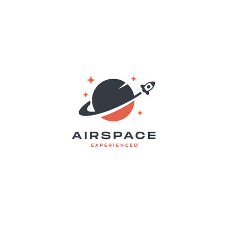 Rocket Planet Logo inspiration. abstract design vector template Negative space style