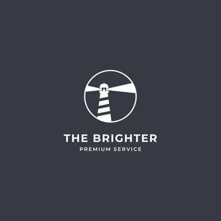 Lighthouse Tower Island logo with searching light and rock coral. premium vector 向量圖像