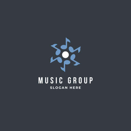 Musical group note logo design vector template. premium design illustration