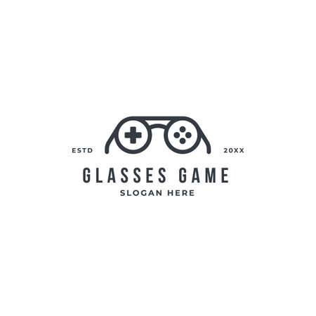 Game geek logo design template with glasses and game pad button. premium vector idea