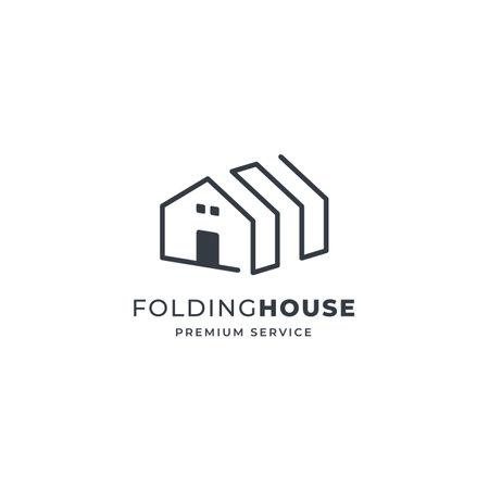 Folding line House logo with window. premium vector logo design idea