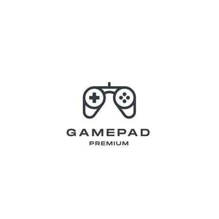 Outline gaming controller logo design vector illustration. premium design inspiration