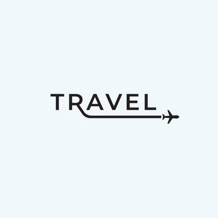 Travel airplane logo text design inspiration. premium vector illustration 向量圖像