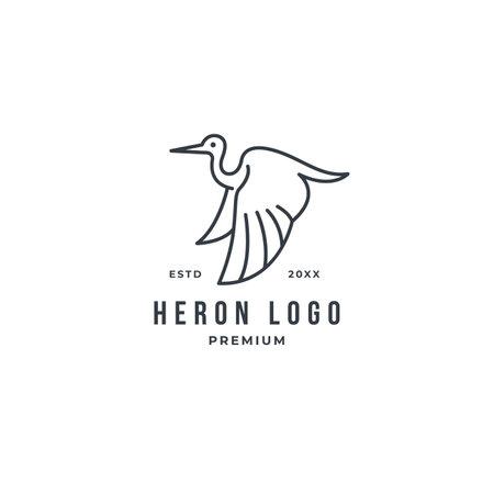 Monoline stork heron logo concept vector line art. premium illustration