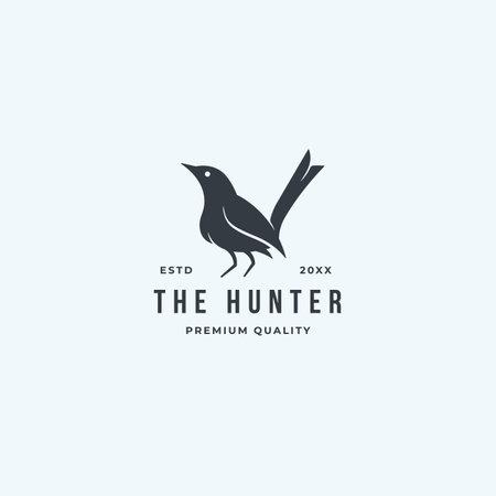 Black standing bird logo hunter isolated on white background. premium vector idea