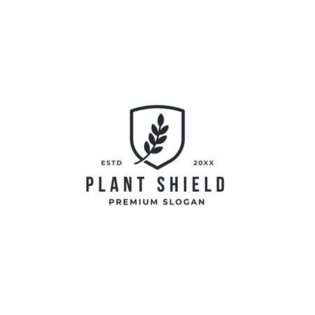 Creative Leaves Plant Shield Logo Design Symbol Vector Illustration. premium design