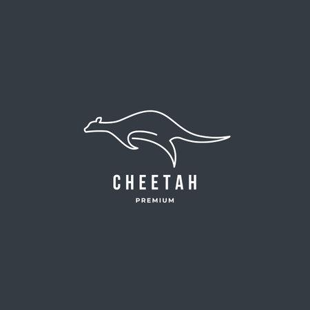 Running cheetah outline logo template. Premium animal vector design illustration