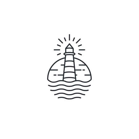 Lighthouse Tower Island with searching light. Simple Line Art logo design inspiration 向量圖像